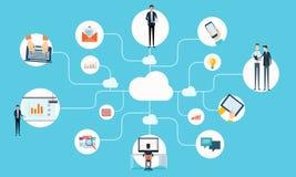 Communication d'affaires de personnes de vecteur fonctionnant le réseau en ligne illustration stock