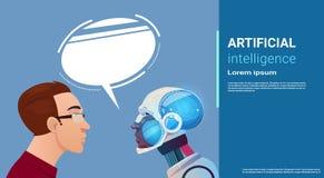 Communication d'homme d'intelligence artificielle avec le robot moderne Brain Technology Image stock