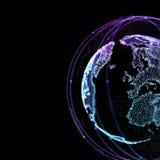 Communication dans le satelitte de l'espace Lignes de connexion autour de globe de la terre illustration 3D Image stock