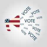 Communication de marché de la politique d'élections des USA : mégaphone avec la Vo Illustration Stock