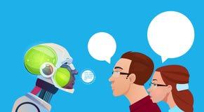 Communication de personnes d'intelligence artificielle avec le robot moderne Brain Technology Image libre de droits