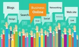 Communication de processus en ligne d'affaires de vecteur illustration stock