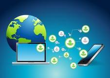 Communication de réseau d'ordinateur et de téléphone Images libres de droits