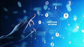 Communication de réseau de foudre en technologie de cryptocurrency Bitcoin et concept de paiement d'Internet sur l'écran virtuel photographie stock libre de droits