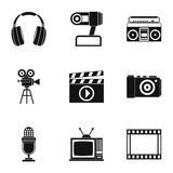 Communication device icons set, simple style Stock Photos