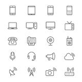 Communication device thin icons Royalty Free Stock Photos