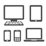 Communication devices. Desktop PC, tablet, smart phone, mobile phone and laptop Stock Photos