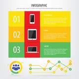 Communication devices infographic. Smartphone, tablet and laptop Stock Image