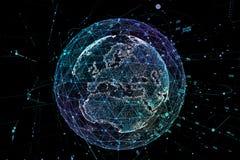 Communication in digital network. Earth Globe. 3d illustration. Communication in digital network. Earth Globe. 3d illustration Stock Photography