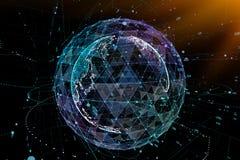 Communication in digital network. Earth Globe. 3d illustration. Communication in digital network. Earth Globe. 3d illustration Royalty Free Stock Photography