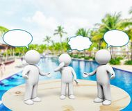 Communication. Discussion talking using voice three-dimensional shape teamwork speech bubble stock illustration