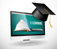 IT Communication - e-learning, on-line education stock illustration