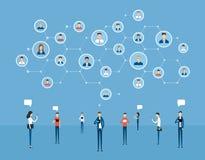 Communication en ligne d'affaires plates sur la connexion réseau sociale illustration de vecteur