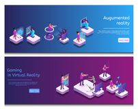 Communication en ligne isométrique, jeu virtuel illustration stock