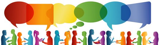 Communication entre le grand groupe de personnes qui parlent Bulle de la parole Parler de foule Communiquez la mise en r?seau soc illustration de vecteur