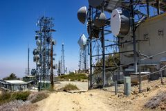 Communication Equipment at the Summit of Santiago Peak royalty free stock images