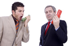 Communication error between two businessman Stock Photo