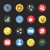 Communication et ensemble social d'icône de médias illustration stock