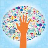 Communication et icônes de media et de main sociaux Photos libres de droits