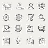 Communication et ligne sociale ensemble d'Internet de media d'icône Photos stock