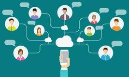 Communication et relation d'affaires sociales sur le mobile illustration stock