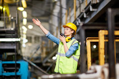 Communication at factory Royalty Free Stock Images