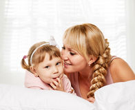 Communication family. Mother and little daughter portrait Stock Photo