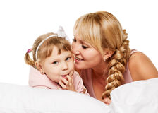 Communication family. Mother and little daughter portrait Royalty Free Stock Images