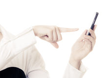 Communication. Female finger rejecting call Stock Image