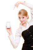 Communication Femme d'affaires montrant le téléphone portable Images libres de droits