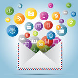 Communication and file sharing by e-mail message. In business Stock Photos