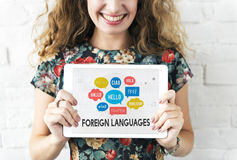 Communication Foreign Languages Greeting Worldwide Concept stock photos