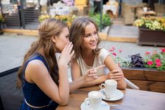 Smiling young women drinking coffee and gossiping Royalty Free Stock Photos