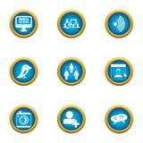 Communication of future icons set, flat style. Communication of future icons set. Flat set of 9 communication of future vector icons for web isolated on white Stock Images