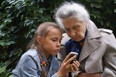 Communication of generations Stock Photo