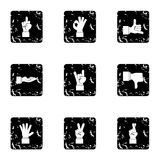 Communication gestures icons set, grunge style. Communication gestures icons set. Grunge illustration of 9 communication gestures vector icons for web Stock Photos