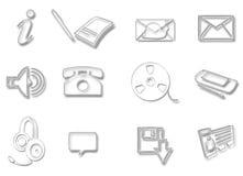 Communication Glass Icons Stock Photography