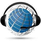 Communication globe. Amazing cool headphone  globe  illustration Stock Image