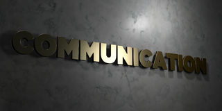 Communication - Gold text on black background - 3D rendered royalty free stock picture Stock Images