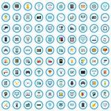 100 communication goods icons set, flat style vector illustration