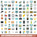 100 communication goods icons set, flat style. 100 communication goods icons set in flat style for any design vector illustration Royalty Free Stock Photography
