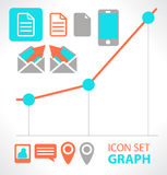 Communication and graph. Set  flat icon. Stock Images