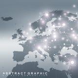 Communication graphique géométrique de fond avec la carte de l'Europe Grand complexe de données avec des composés Contexte de per illustration stock