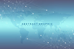 Communication graphique géométrique de fond avec la carte pointillée du monde Grand complexe de données avec des composés Perspec illustration libre de droits