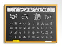Communication hand drawing line icons. chalk sketch sign illustration on blackboard stock illustration