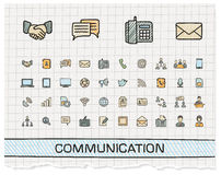 Communication hand drawing line icons Royalty Free Stock Photos