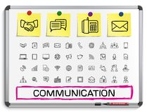 Communication hand drawing line icons. Royalty Free Stock Photos