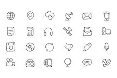 Communication Hand Drawn Vector Icons 1. This day in age, we're all about fast, quick communication, so we hope you'll find these hand drawn communication icons Royalty Free Stock Images