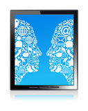 Communication head  tablet Royalty Free Stock Images