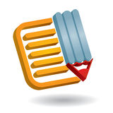 Communication icon, with document and pen. Note paper - abstract communication icon, with document and pen Royalty Free Stock Photos